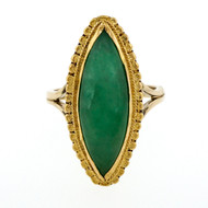 Natural No Heat Certified Jadeite Jade Marquise 24k 14k Ring