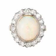 3.50ct Opal Diamond Halo 14k Gold Cocktail Ring