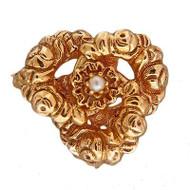 Estate 14k Yellow Gold Swirl Textured Akoya Cultured Pearl Center Pin Pendant