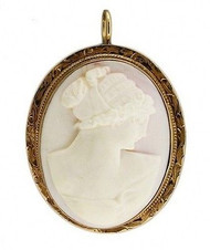 Estate Delicate Hand Carved 10k Pink Gold Angel Skin Coral Cameo Pin Pendant