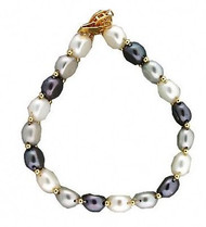 Estate 14k Yellow Gold Spacers Catch White Grey Black Fresh Water Pearl Bracelet