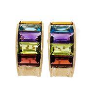 Emerald Cut 15.00ct Multicolor Semi Precious 14k Yellow Gold Hoop Earrings