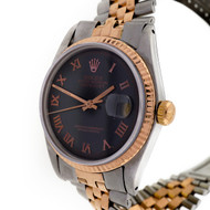 Pink Gold & Steel Rolex 1601 Jubilee Band Black Dial Pink Roman Numeral Watch