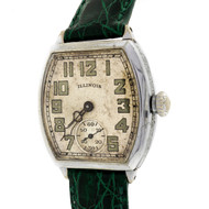 Vintage 1934 Art Deco Illinois Wrist Watch Green Crocodile Band