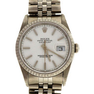 Rolex Steel Datejust 16220 White Dial Wrist Watch 18k White Gold Bezel