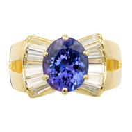 3.88ct Purple Blue Tanzanite Diamond Gold Cocktail Ring