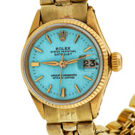 Ladies Gold Rolex Custom Colored Turquoise Blue Dial Gold Jubilee Bracelet