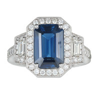 Art Deco Emerald Cut Sapphire 3.88ct Platinum Diamond Halo Ring PSD