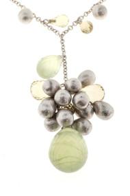 Estate 3-D 18k White Gold Colored Briolette Quartz & Citrine Bead Necklace