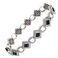 Dilamani Sapphire Diamond White Gold Bracelet
