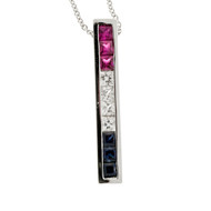 Estate Patriotic Square Red Ruby, White Sapphire, Blue Sapphire Channel Pendant