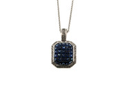 Estate Dilamani 18K White Gold Custom Cut Invisible Set Sapphire Diamond Pendant