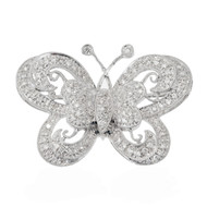Estate 1960 Beautiful 18k White Gold Delicate Pave Set 123 Diamond Butterfly Pin