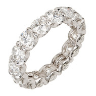 Vintage 4.50ct Ideal Cut Diamond Platinum Curved Common Prong Band Ring Eter