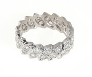 Estate 1930'S Platinum Art Deco Marquise & Transitional Diamond Eternity Ring