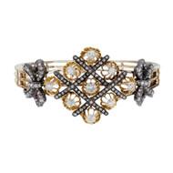 Vintage Estate Antique 14k 1860 Old Mine & Rose Diamond Bangle Bracelet