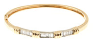 Estate 14k Yellow And White Gold Sections Emerald Cut Diamond Bangle Bracelet