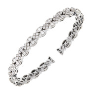 Vintage Sonia B Heavy Solid 14k White Gold 1.75ct Round Diamond Flex Bracelet