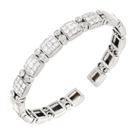 Vintage Sonia B 1.70ct Round Diamond Solid 14k White Gold Flex Bracelet