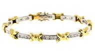"Estate Platinum & 18k Gold  ""X"" Bows 4.00ct Round Diamond Bracelet"