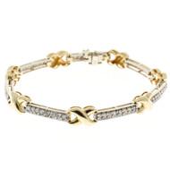 "Vintage 1.68ct Round Diamond 14k White Gold Hinged Bar Link ""X"" Style Bracelet"