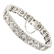 Vintage 1.60ct Old European Cut Diamond Platinum Top 14k White Gold Bracelet