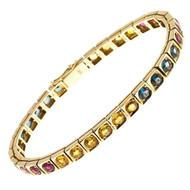 Vintage 10.88ct Ruby Blue Yellow Sapphire 14k Yellow Gold Bracelet