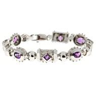 Estate Byzantine Style 8 Amethyst 14k White Gold Heavy Secure Link Bracelet