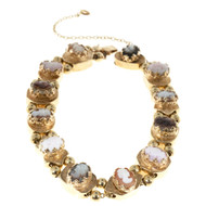 Vintage 12 Section Cameo 14k Yellow Gold Multicolor Bead Slide Bracelet