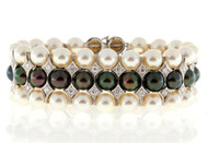Estate 1950s 3 Row Akoya Black & White Pearl & Diamond 14k White Gold Bracelet