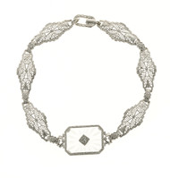 Estate 14k White Gold Pierced Filigree Link Quartz & Diamond Engraved Bracelet