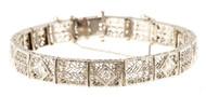 Vintage 1935 14k Gold Wide Pierced Filigree 5 European Cut Diamond Bracelet