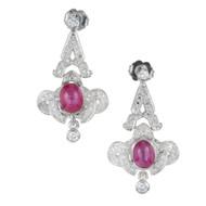 Vintage Estate Edwardian Art Deco Platinum Star Ruby Pave Diamond Drop Earrings