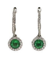 Bright Green Genuine Emerald 14k White Gold Diamond Pierced Earrings