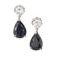 5.69ct Pear Royal Blue Sapphire Diamond Dangle Pierced Gold Earrings