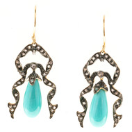 Vintage Victorian Revival Pear Turquoise 60 Round Diamond 9k Dangle Earrings