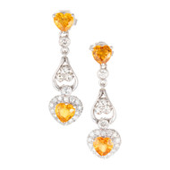 Vintage 1.11ct Heart Yellow Sapphire .36ct Diamond 14k Gold Dangle Earrings