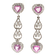 Vintage 2.40ct Heart Pink Sapphire 14k White Gold .58ct Diamond Dangle Earrings