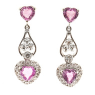 Vintage 2.30ct Heart Pink Sapphire 14k White Gold .29ct Diamond Dangle Earrings