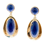 Vintage Oval Round Fine Bright Blue Lapis 14k Yellow Gold Lapis Dangle Earrings