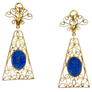 Vintage 2.13 Inch Long 14k Yellow Gold Untreated Clip Post Lapis Earrings