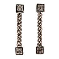 Vintage Kurt Gutman 18k White Gold 16 Diamond 3-D 2 Section Dangle Earrings