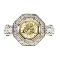 Octagonal 8 Sided Natural Fancy Light Yellow Platinum Diamond Ring
