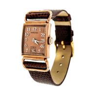 Art Deco 1940 Pink Gold Filled Hamilton Wrist Watch Fancy Lugs Strap Watch