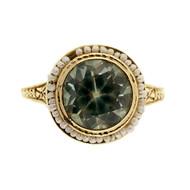 Antique Art Deco 2.60ct Blue Zircon Pearl 14k Yellow Gold Ring