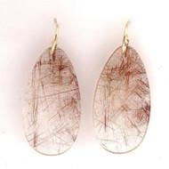 Rare 83.06ct Quartz Crystal Earrings 18k Earrings Copper Rutile