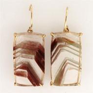 Rare Natural 42.13ct Quartz Crystal 14k Yellow Gold Dangle Earrings