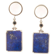 Vintage Hinged Art Deco Lace Agate Black Onyx Lapis 14k White Gold Earrings