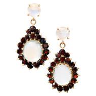 Vintage Dramatic Retro 1935 14k Blue Moonstone 4.50ct Red Garnet Dangle Earrings