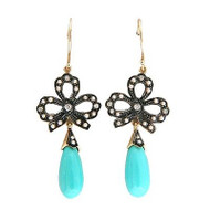 Vintage Revival 9k Turquoise Dangle 40 Pearl 6 Round Diamond Bow Earrings
